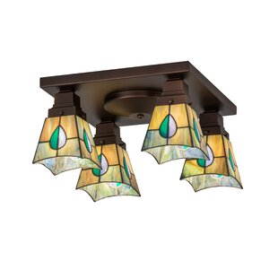 Meyda Tiffany Greenbriar Oak Alcove 4-Light Flush Mount