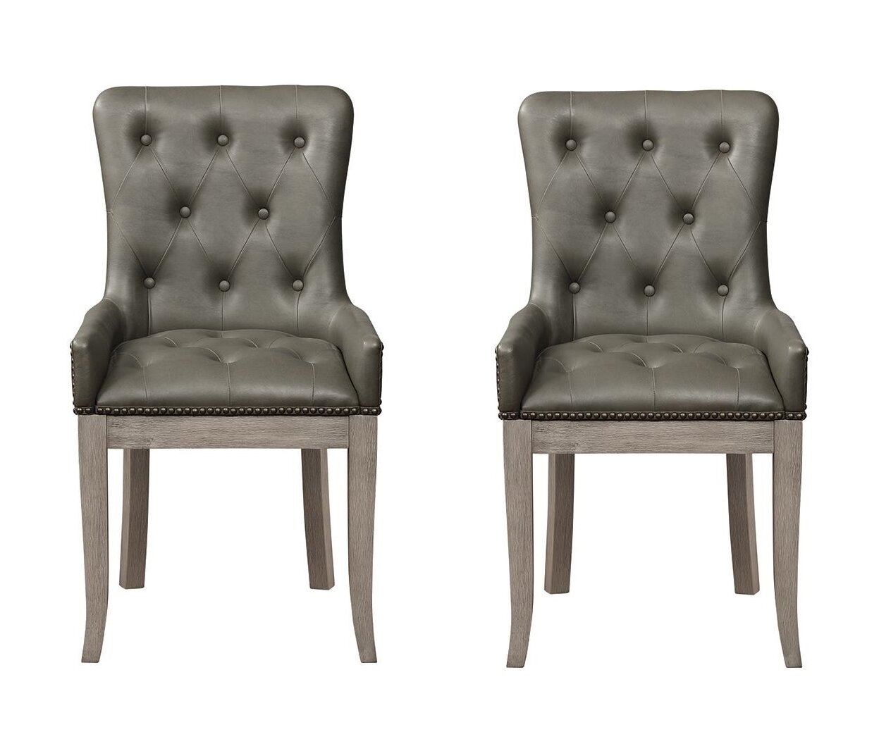 Leandro Tufted Back Dining Chairs Charcoal Grey Set Of 2
