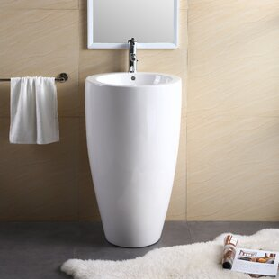 Vitreous China 20 Pedestal Bathroom Sink with Overflow By Fine Fixtures
