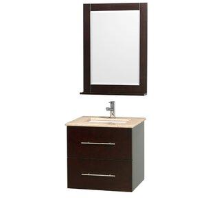 Centra 24 Single Espresso Bathroom Vanity Set with Mirror