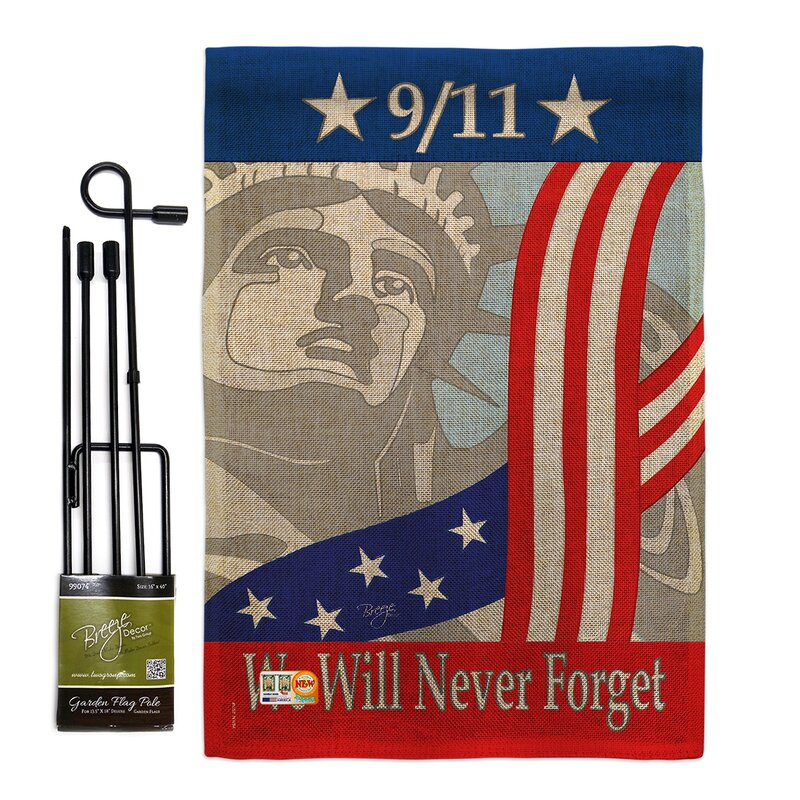 Breeze Decor September 11th Americana Patriotic Impressions 2 Sided Polyester 18 5 X 13 In Flag Set Wayfair