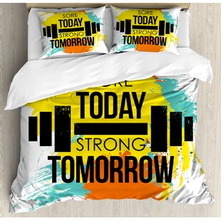 East Urban Home Sore Today Strong Tomorrow Gym Quote Typography Colorful Energetic Brushstrokes