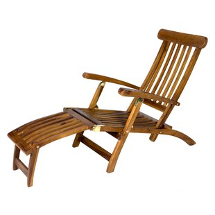 Reclining Teak Chaise Lounge by Longshore Tides