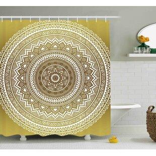 Elle Gold Ombre Mandala Flower Pattern Golden Queen Inspired Ethnic Prints  Hippie Design Shower Curtain