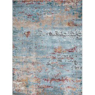 Pugh Abstract Soft And Plush Light Bluebrown Area Rug