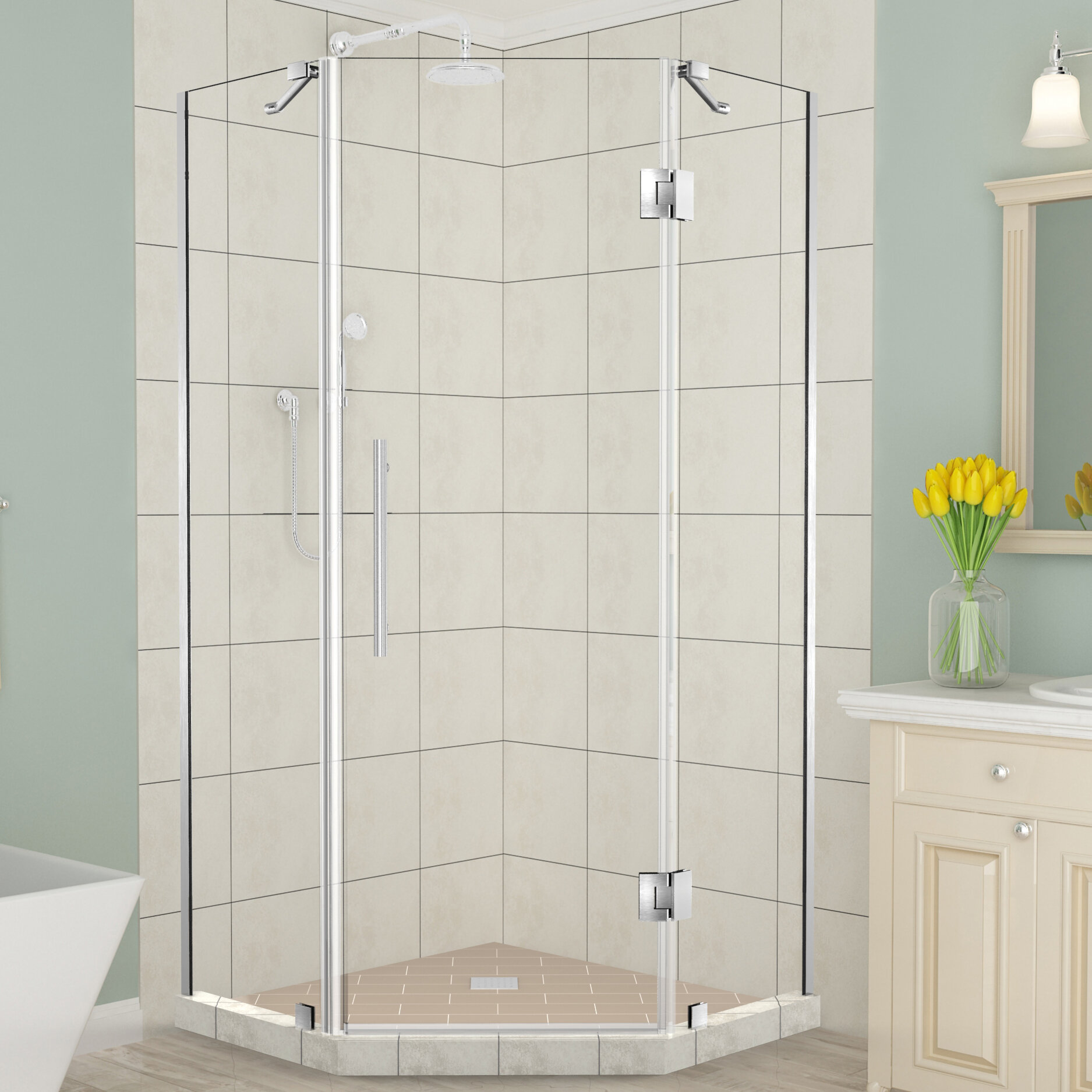 Merrick 38 X 72 Neo Angle Hinged Shower Enclosure