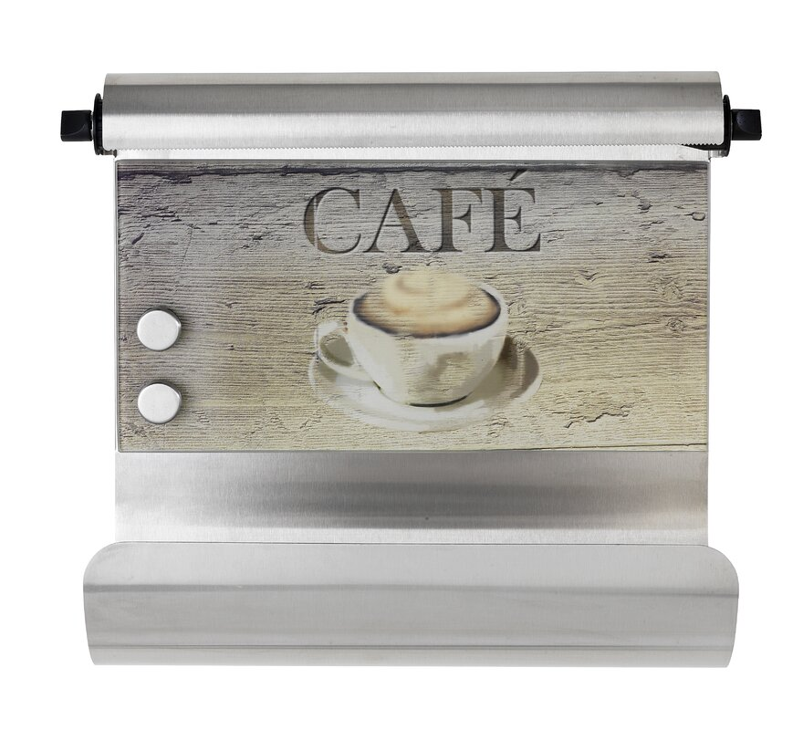 Wenko Café Wall Mounted Magnetic Paper Towel Holder with Tin Foil ...