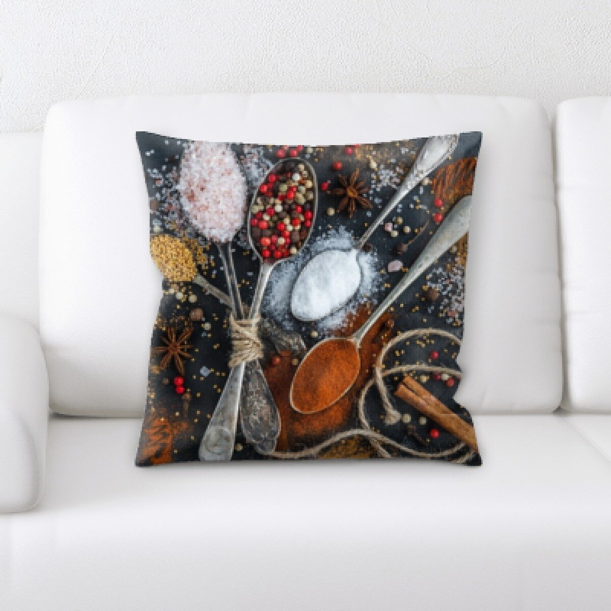 East Urban Home Bernardini Cooking Spoon Of Different Spices Throw Pillow Wayfair