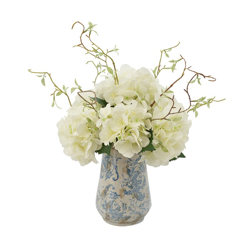 Lark Manor Hydrangea Floral Arrangements With Vines In Rustic Vase
