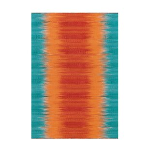 Sunset Handwoven Flatweave Turquoise/Orange Rug by Kayoom