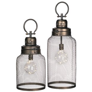 Williston Forge Lucienne Wire Mesh LED Light Lantern 2 Piece Table Lamp Set