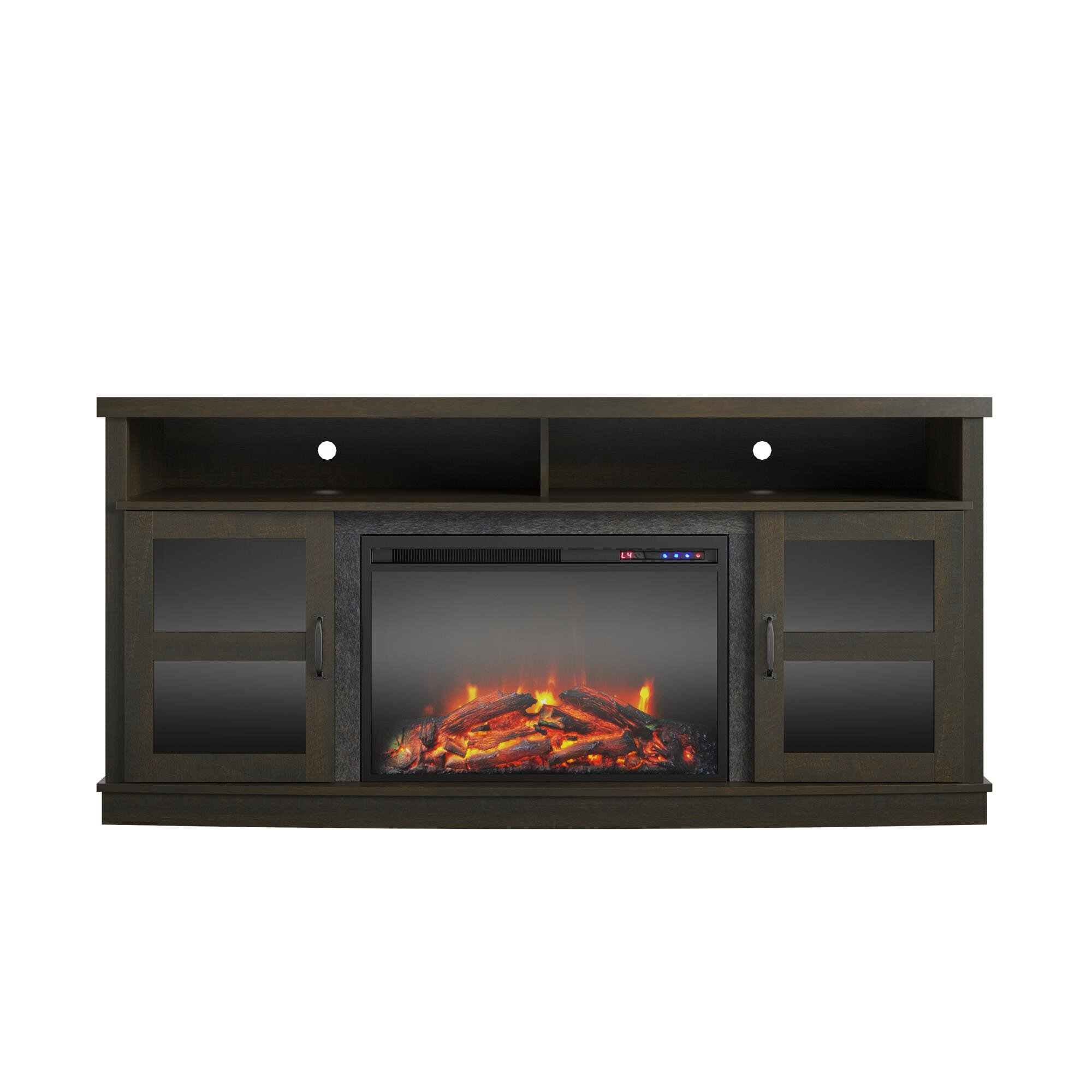 Latitude Run Billie Ann Tv Stand For Tvs Up To 65 With Electric Fireplace Included Reviews Wayfair