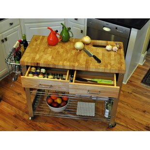 Thielsen Kitchen Cart with Wood Top by Loon Peak