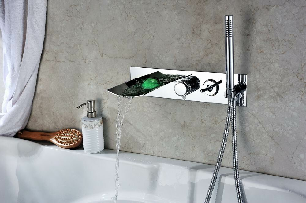 Sumerain Double Handle Wall Mount LED Waterfall Tub Faucet with ...