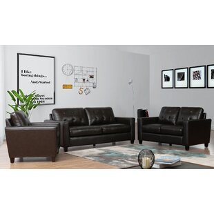 17 Stories Dion 3 Piece Leather Living Ro..
