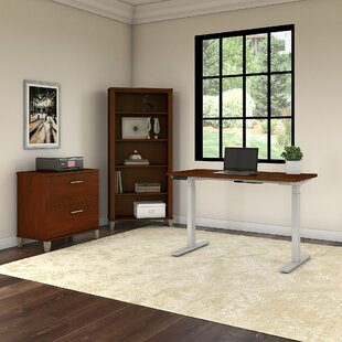 Kirchoff Height-Adjustable Standing Desk with Cabinet and Bookcase Set