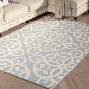 Charlena Hand-Hooked Blue/Cream Indoor/Outdoor Area Rug