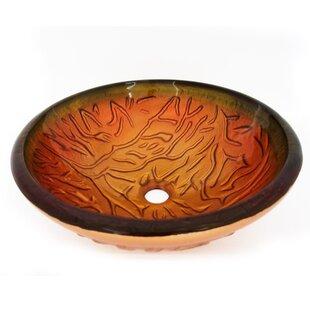 Buy clear Textured Glass Circular Vessel Bathroom Sink ByLegion Furniture