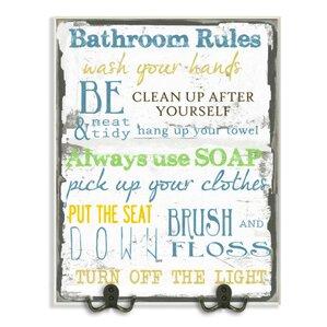 bathroom rules textual art wall plaque