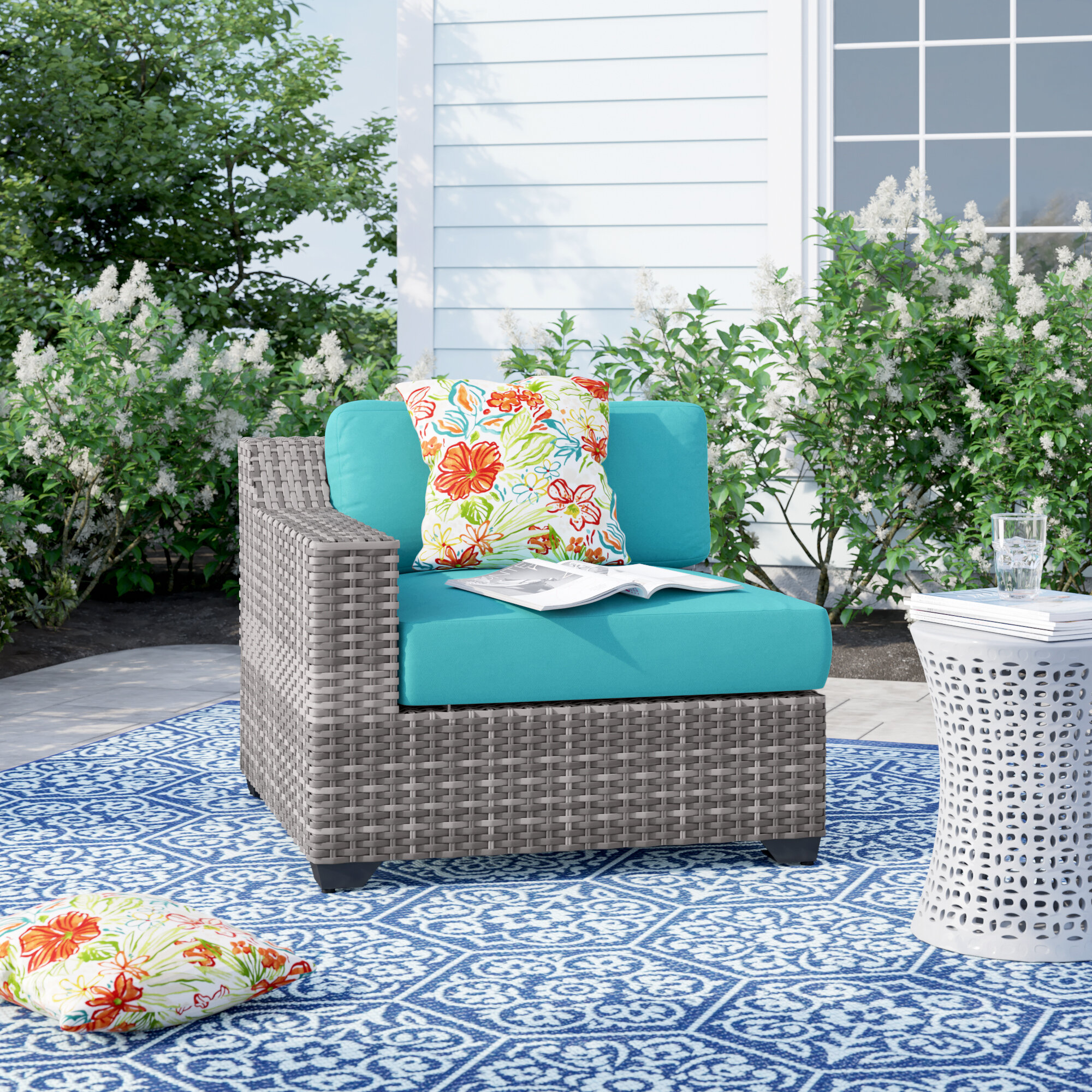 Peachy Falmouth Right Arm Patio Chair With Cushions Pdpeps Interior Chair Design Pdpepsorg