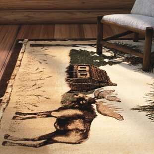 Lacour High Quality Woven Ultra-Soft Traditional Southwest Wilderness Moose Theme Berber Area Rug By Loon Peak