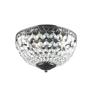 Gracie Oaks West Harptree Crystal 3-Light Flush Mount