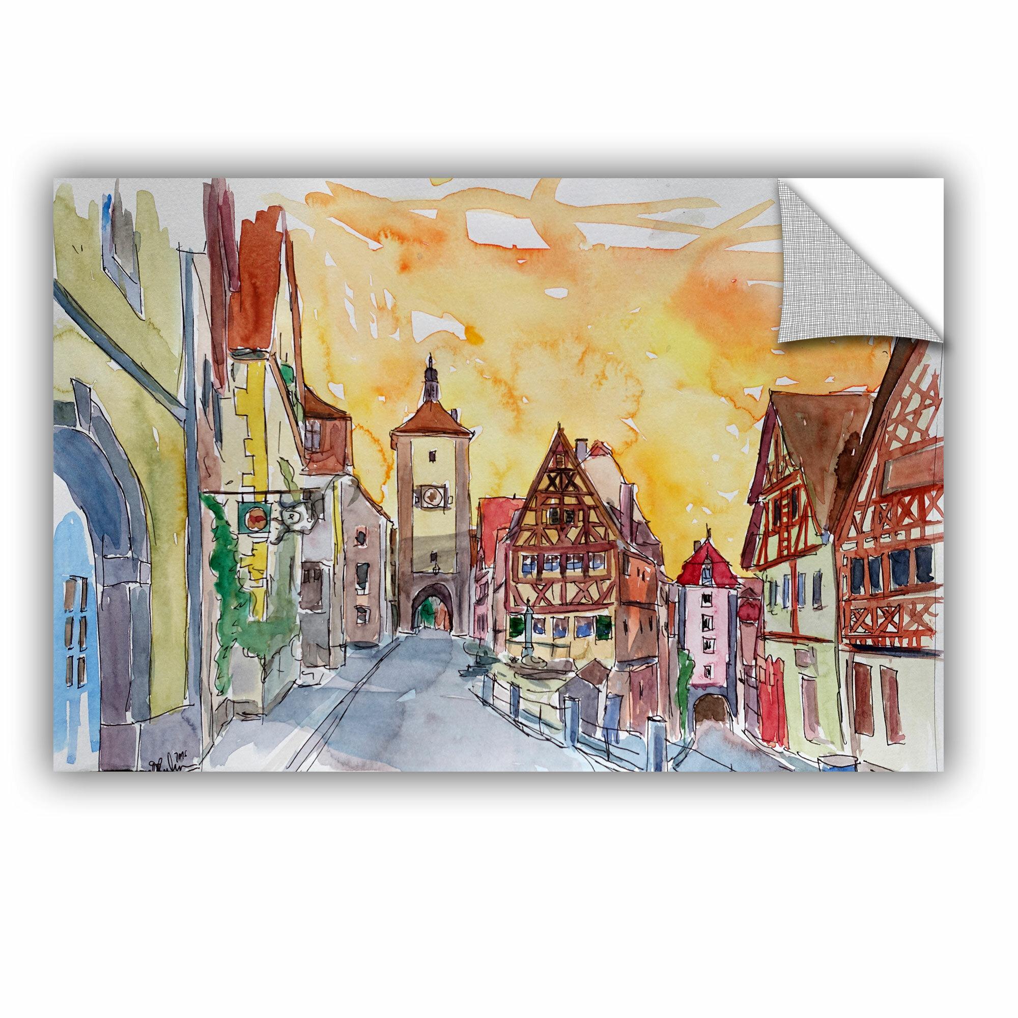 ArtWall Marcus/Martina Bleichner Rothenburg Tauber Watercolor Sunset ...