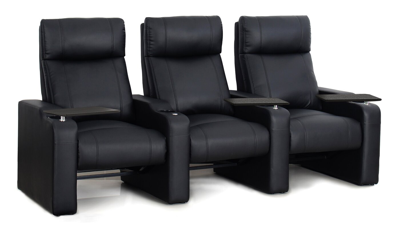 Amazing Leather Manual Rocker Recline Home Theater Sofa (Row Of 3)