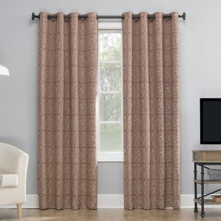 Evie Medallion Jacquard Abstract Max Blackout Thermal Grommet Single Curtain Panel by Sun Zero