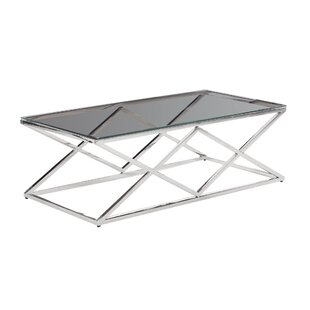 Bargain Clearfield Metal/Glass Diamond Coffee Table By Orren Ellis