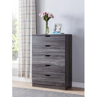 Rosanna Bedroom Wooden Utility 5 Drawer Chest
