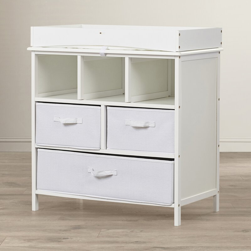 Bianca Baby Changing Table With Pad And With 3 Baskets
