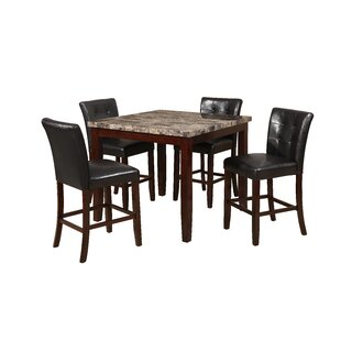 Aldama Faux Marble 5 Piece Dining Set Red Barrel Studio