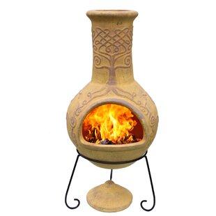 Derwyn Clay Wood Burning Chiminea By Gardeco