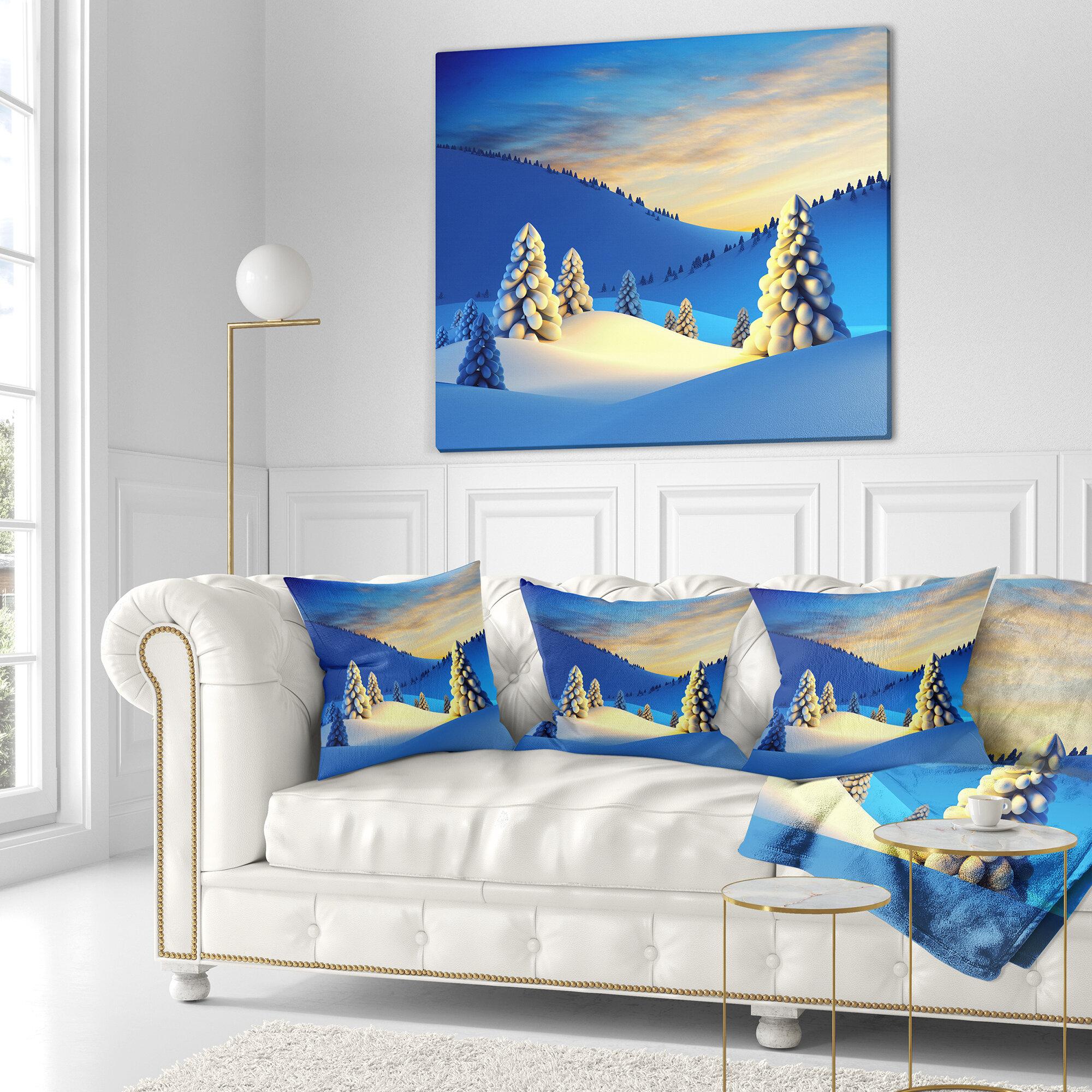 East Urban Home Designart Winter Mountains With Fir Trees Landscape Photography Throw Pillow Wayfair