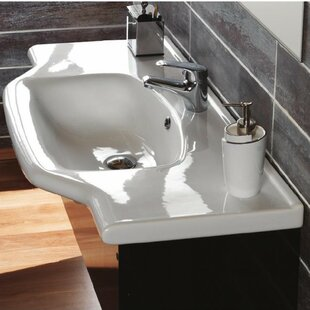 Compare prices Yeni Klasik Ceramic Rectangular Drop-In Bathroom Sink with Overflow ByCeraStyle by Nameeks