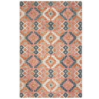 Bungalow Rose Gooden Geometric Handmade Tufted Wool Orange Area Rug Wayfair