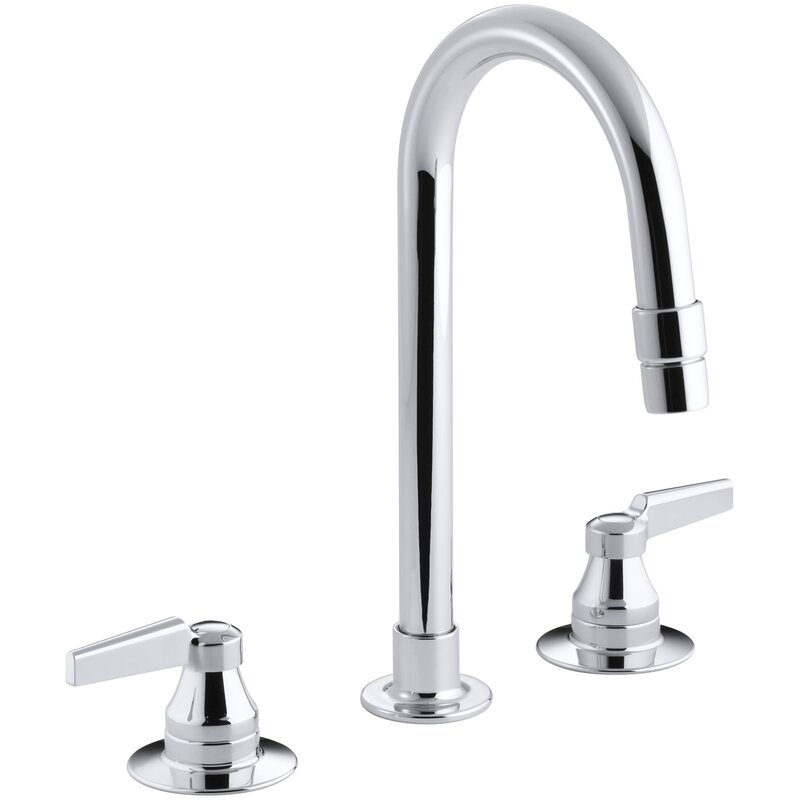 Kohler Triton Widespread Commercial Bathroom Sink Faucet With Gooseneck Spout With Vandal Resistant Aerator And Rigid Connections Requires Handles Drain Not Included Wayfair