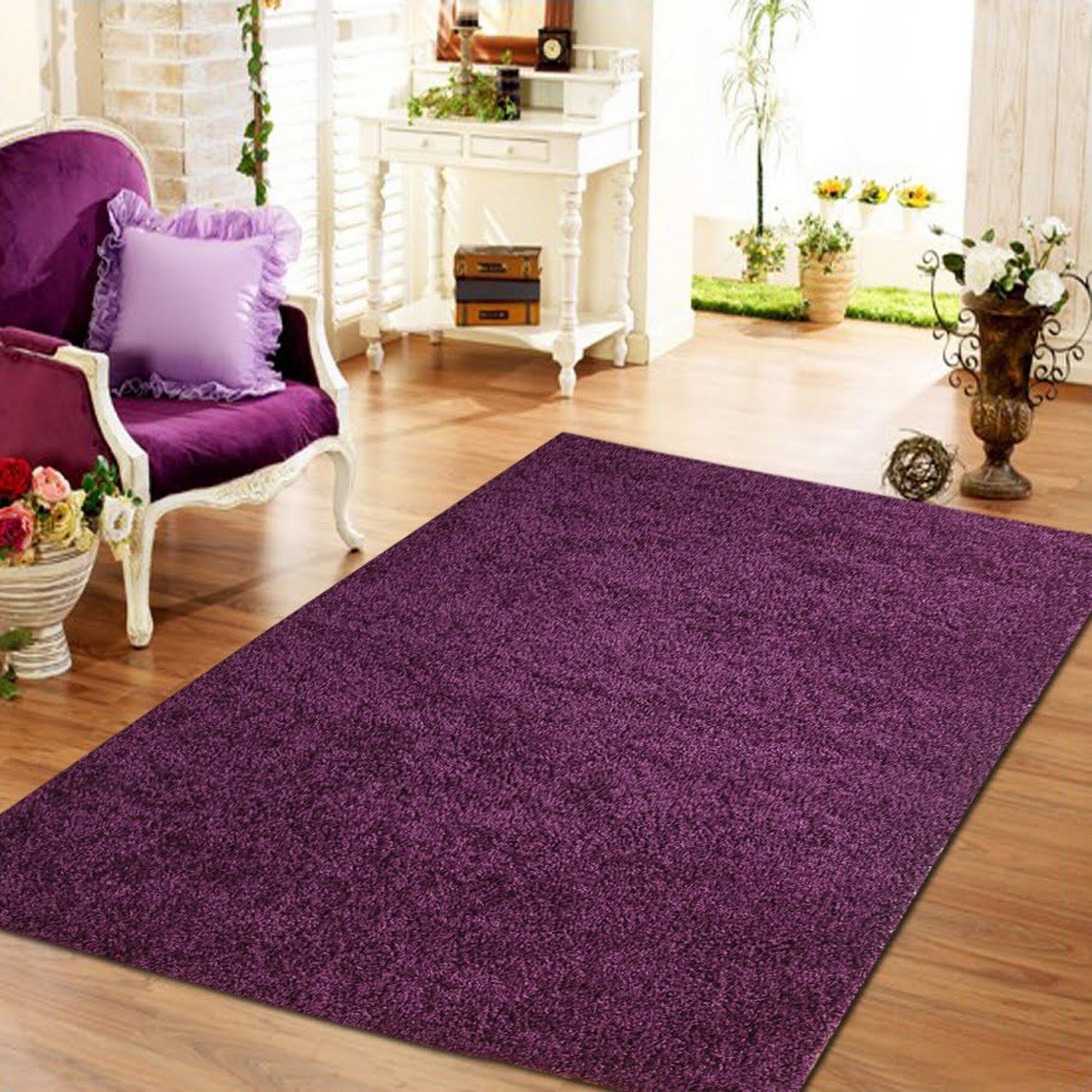 Winston Porter Aadhya Plush Purple Area Rug Reviews Wayfair
