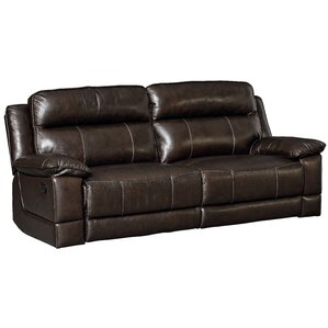 Rindham Sequoia Manual Motion Leather Reclining Sofa by Red Barrel Studio