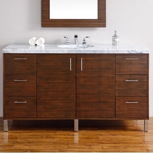 Elbridge 60 Wall-Mounted Single American Walnut Solid Wood Base Bathroom Vanity Set By Mercury Row