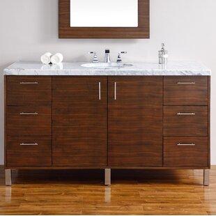 Read Reviews Elbridge Modern 60 Single American Walnut Bathroom Vanity Set ByMercury Row