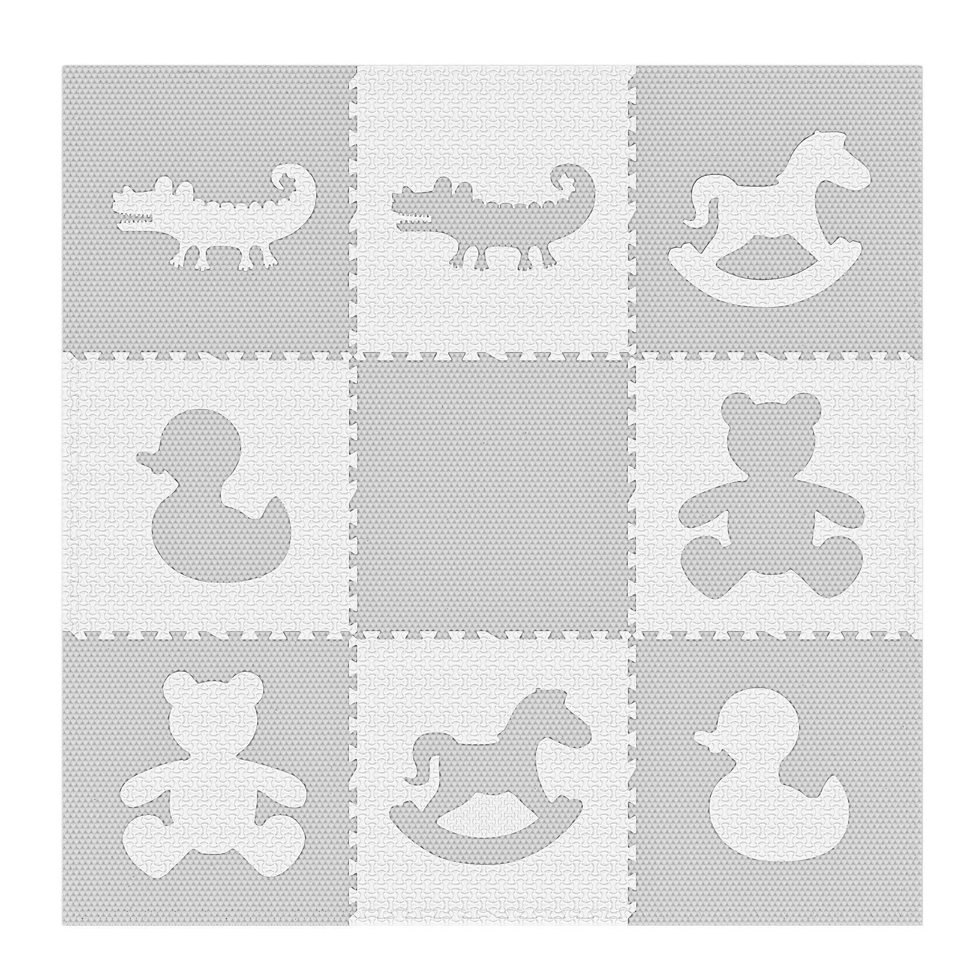 Gorgeous Home Decor,White,4 Garage Baby Interlocking Foam Play Mat Perfect for Floor Protection Exercise Soft Play Mats for Kids Yoga Playroom