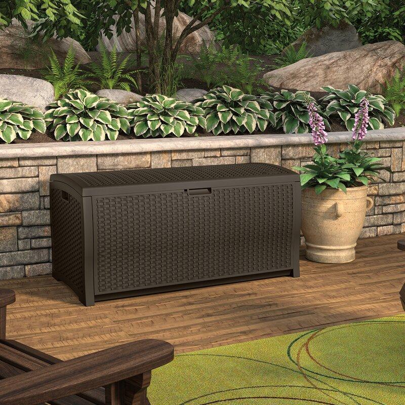 Suncast Java Wicker Outdoor 99 Gallon Resin Deck Box