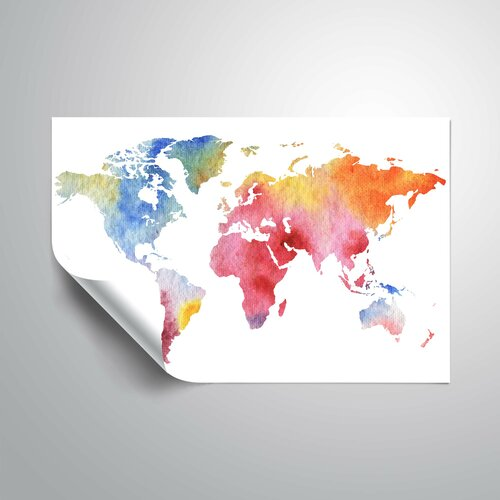 Wrought Studio Gillham Gentle Rainbow World Map Removable Wall Decal Wayfair