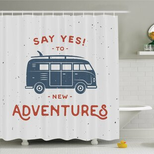 Reviews Vintage, New Adventures Typography with Little Van Hippie Style Life Free Spirit Design Shower Curtain Set By Ambesonne