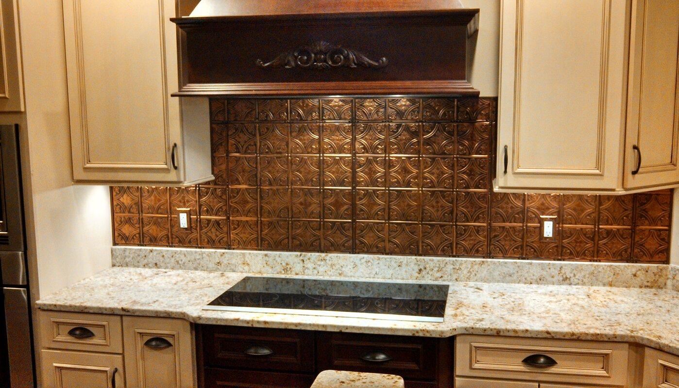 American tin ceilings 24 x 24 metal backsplash panel kit in copper 24 x 24 metal backsplash panel kit in copper brushed bronze dailygadgetfo Image collections