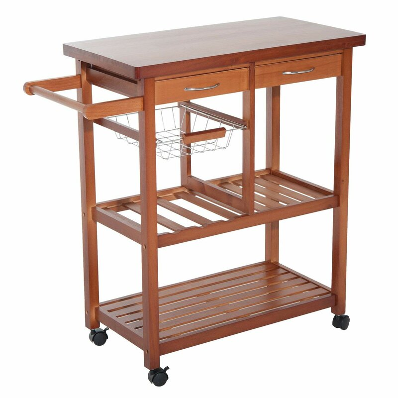 Charmant Kitchen Cart With Wood Top