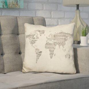 World map crib sheets wayfair harner world sheet music map throw pillow gumiabroncs Choice Image