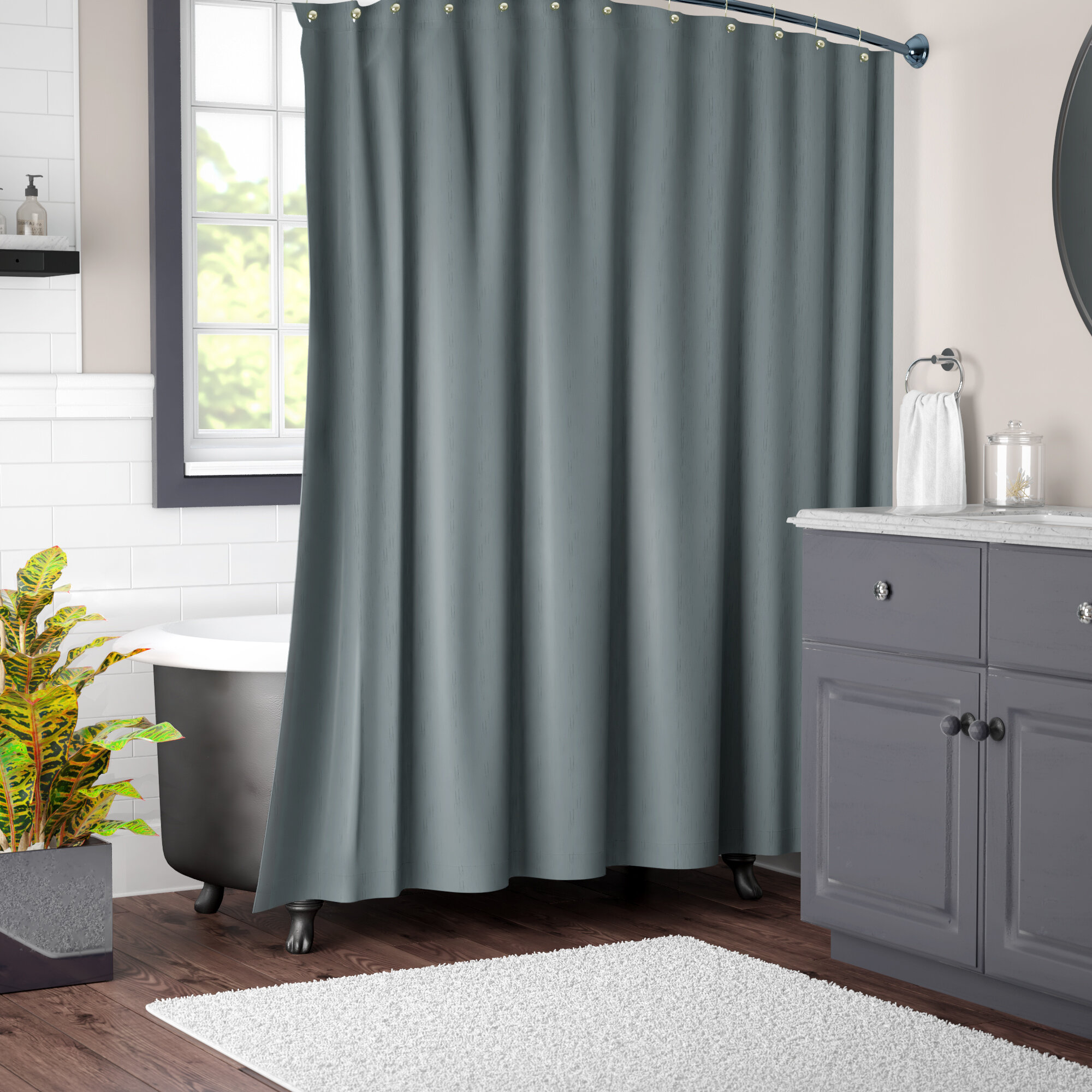 Solid Color Single Shower Curtain